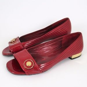 Tory Burch Red Patent Leather Flats Low Heel EUC